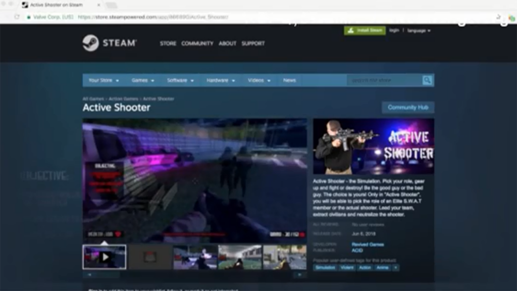 'Active Shooter' video game is pulled after backlash from shooting