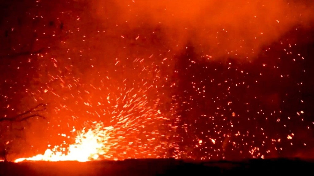 Whirlwind of lava seen at Hawaii's most active volcano