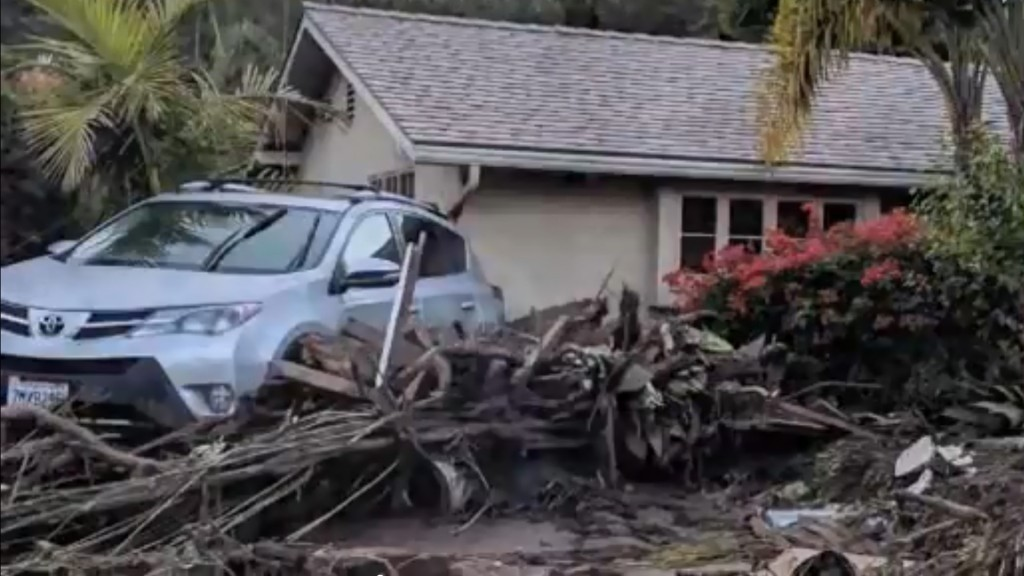 Flooding, mudslides and snow hit California roads