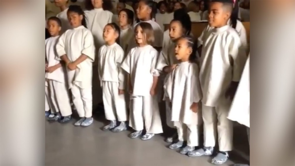 North and Saint West sing at Kanye's Sunday service