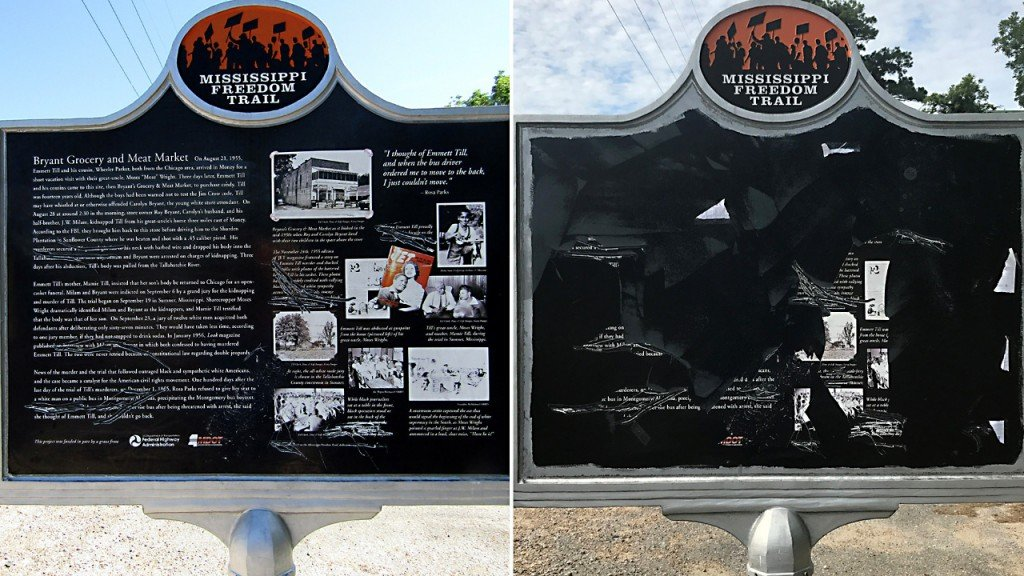 Mississippi Emmett Till memorial sign protected by bulletproof glass