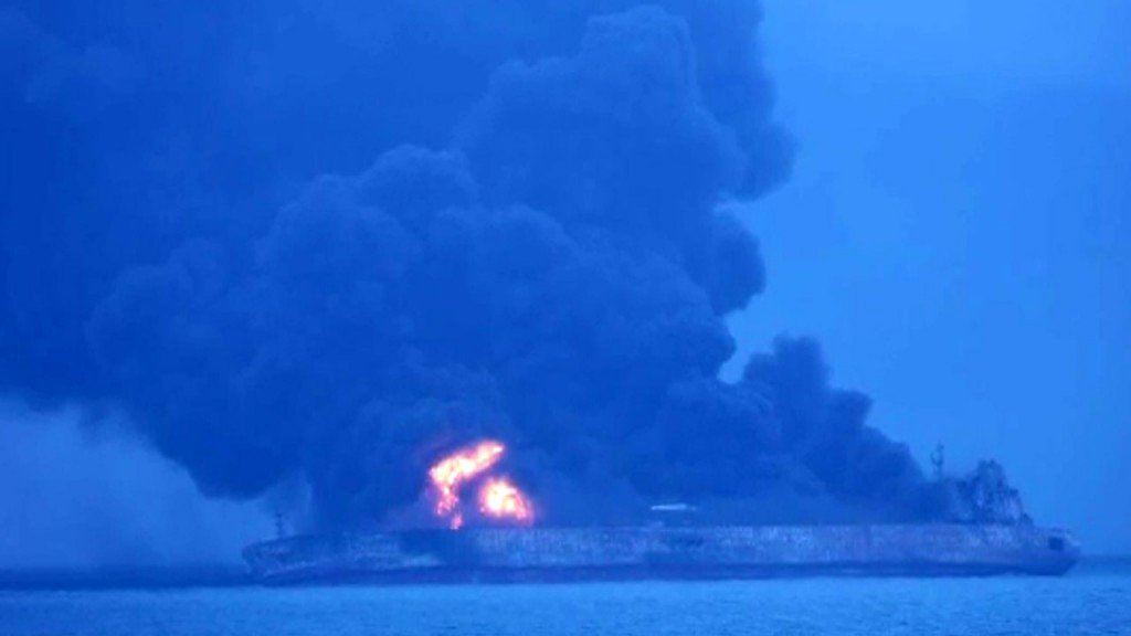 Huge oil tanker at risk of exploding after collision; 1 body found