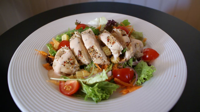 Grilled chicken and pear salad with hazelnut vinaigrette
