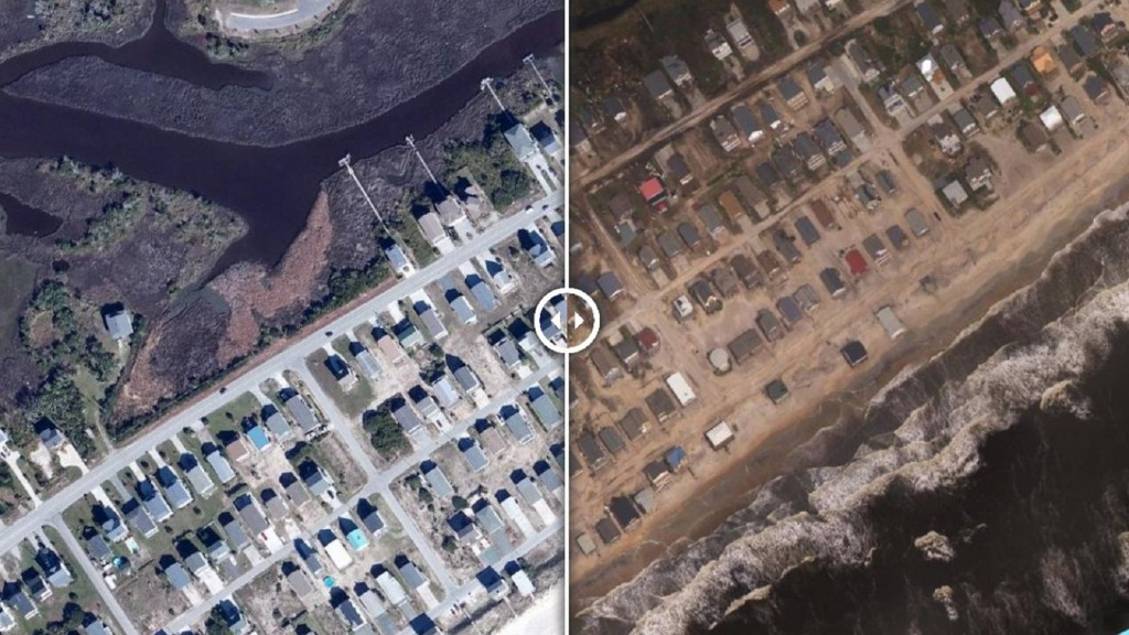 Before-and-after aerial photos show destruction on NC coastline