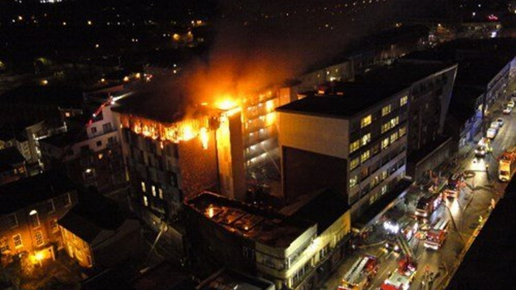 Two injured after fire engulfs student flats in England