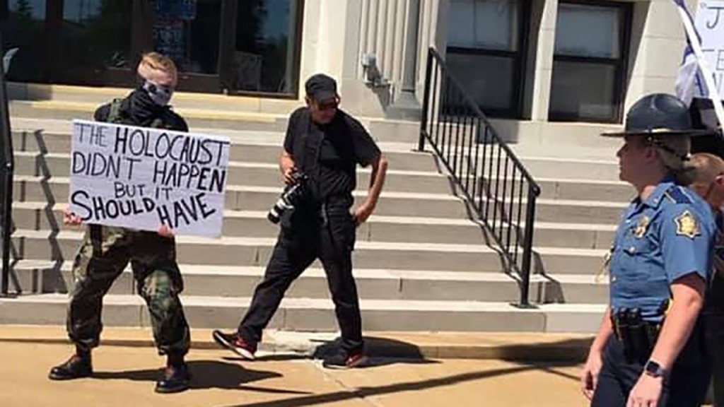 American Nazis protest Holocaust remembrance event