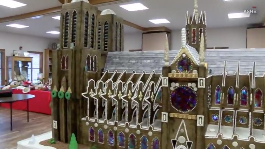 Church builds 7-foot Notre Dame gingerbread house