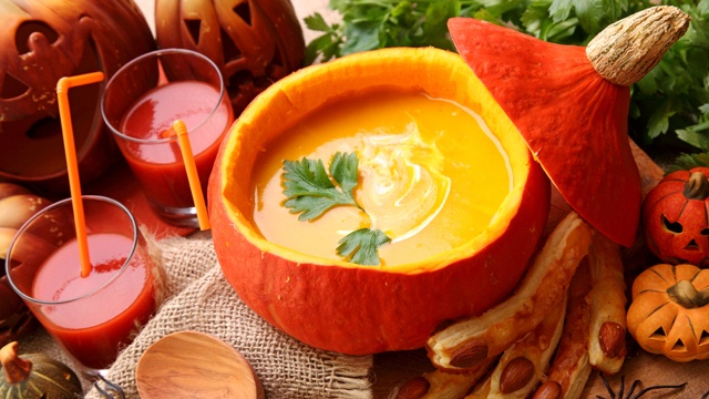 Brandied pumpkin panna cotta soup