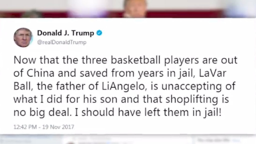 Trump to LaVar Ball: 'I should have left them in jail!'