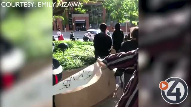 Video Shows Protesters Hit By Car In Downtown Spokane