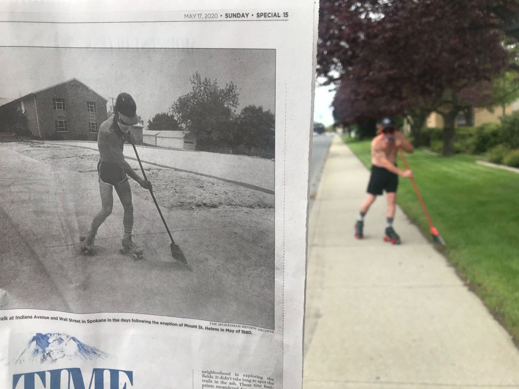 Man With Broom Recreates Photo From Mt St Helens