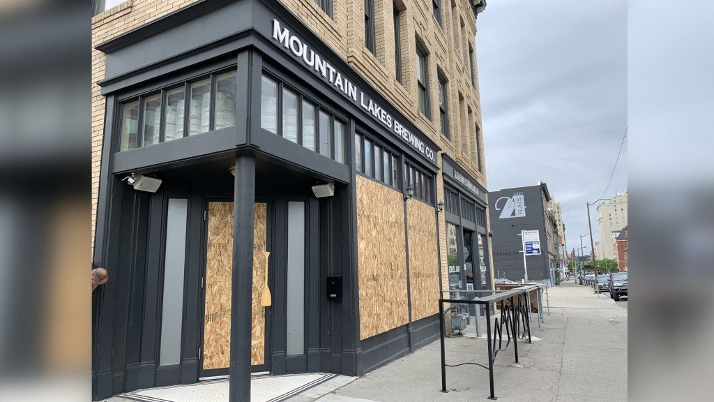 Mountain Lakes Brewing Co. boarded up