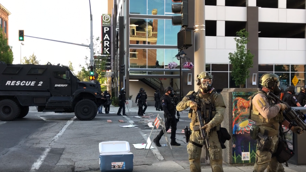 Spokane Police Swat Team Downtown Protest