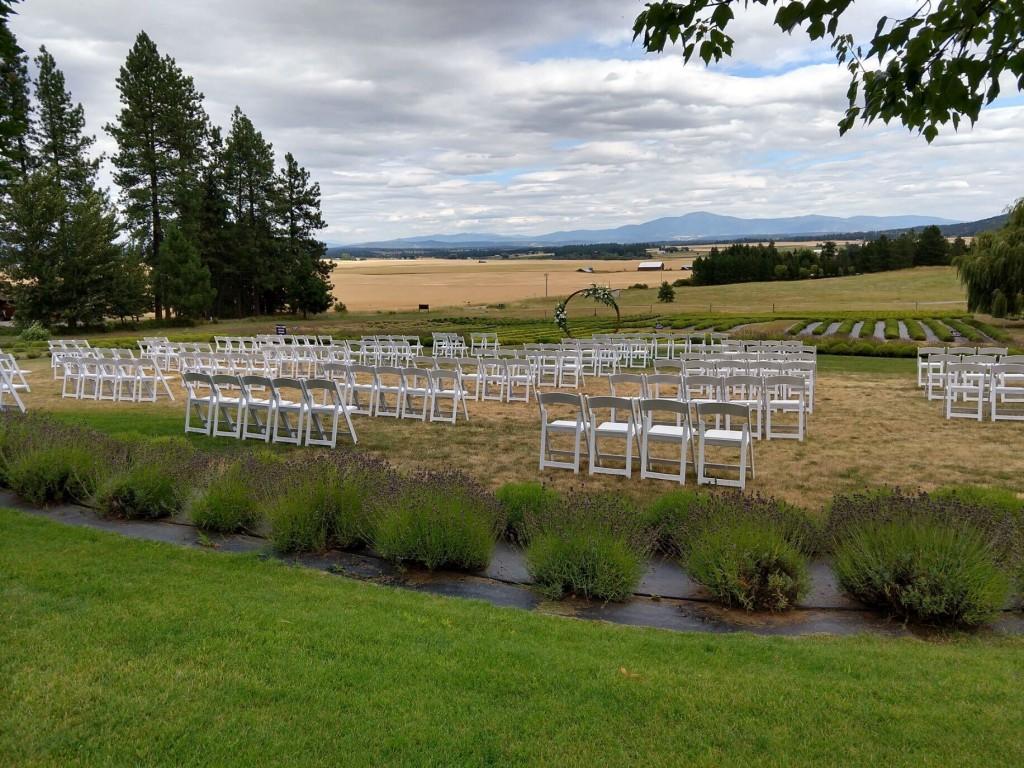 Covid Wedding setup with chairs at lavender manor