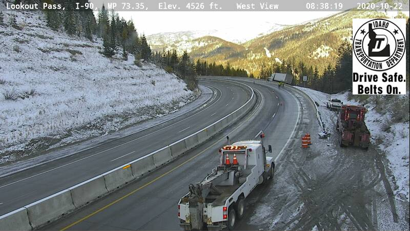 Semi over Lookout Pass