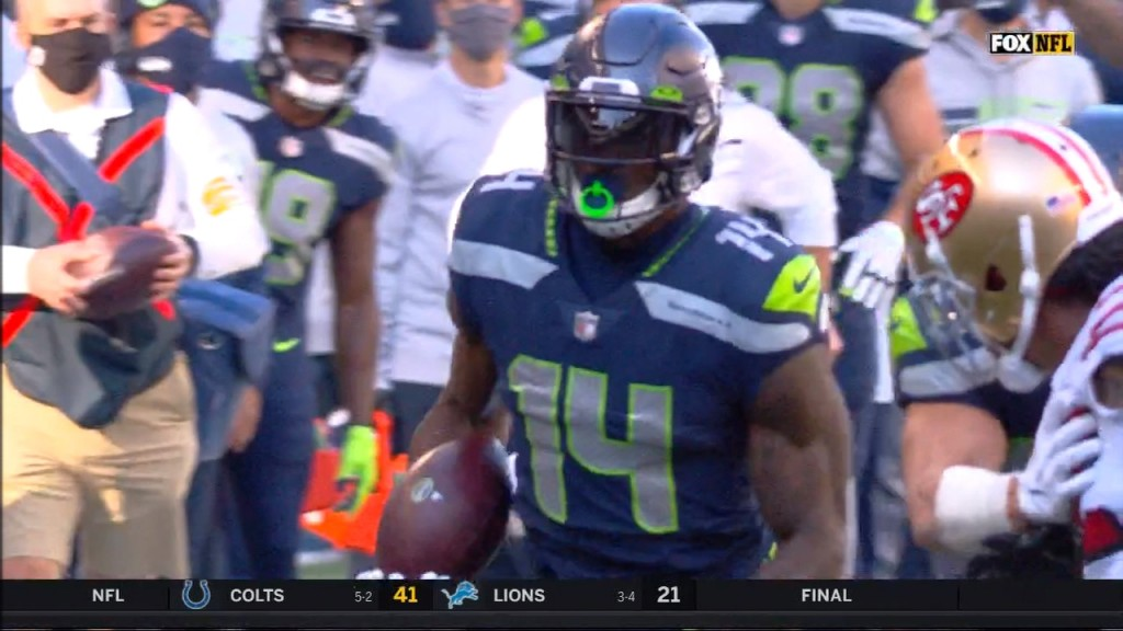 Seattle's DK Metcalf scores the first touchdown of the game against the 49ers