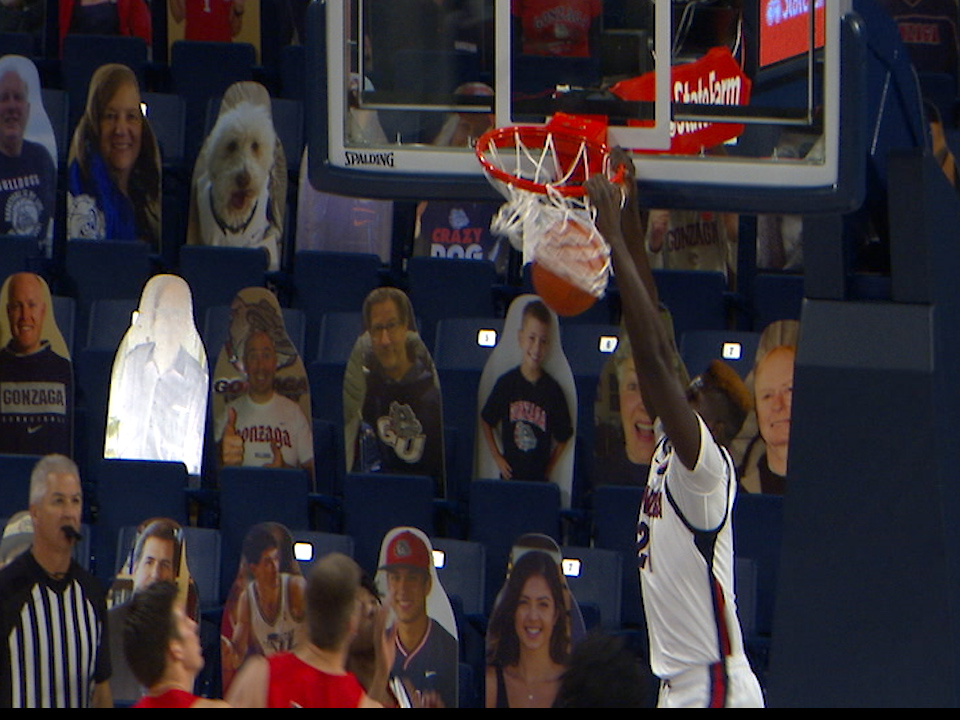 Gonzaga's Oumar Ballo finishes off a dunk in a win against Dixie State