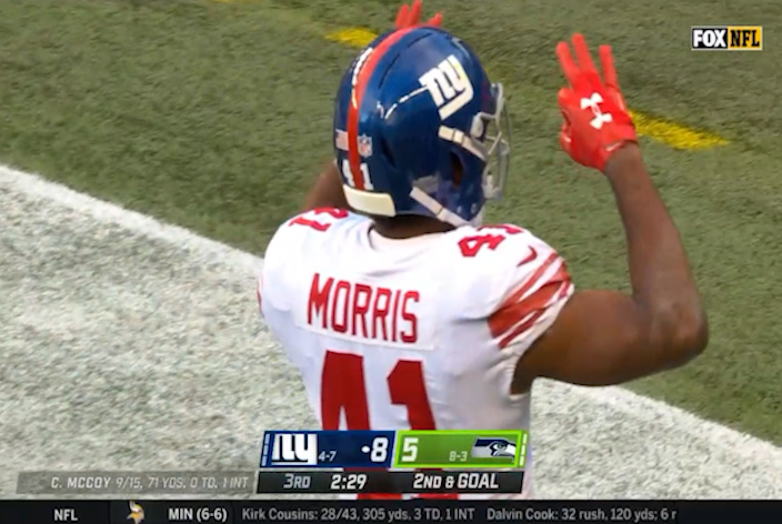Alfred Morris scores two touchdowns against the Seahawks Sunday