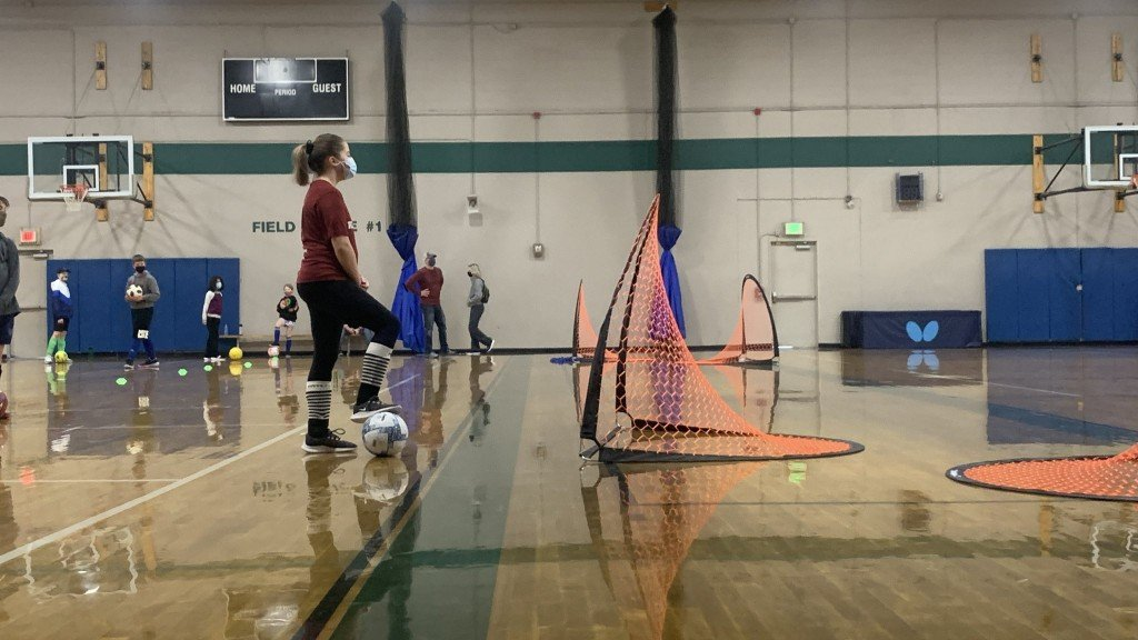 Kids Playing Soccer At The Sysa Warehouse