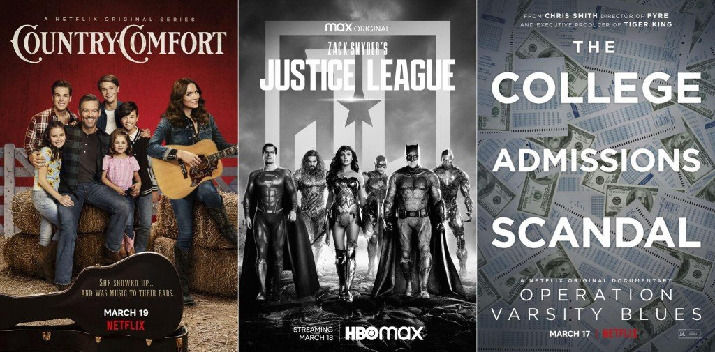 Coming This Week To Tv, Streaming And More: 'justice League,' 'country Comfort' And The College Admissions Scandal