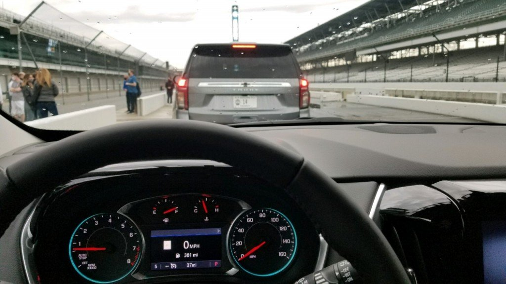 Keith Osso takes a test lap around Indianapolis Motor Speedway