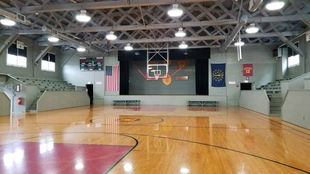 Hoosier gym in Knightstown, Indiana is still set up the way it was when they filmed the movie Hoosiers