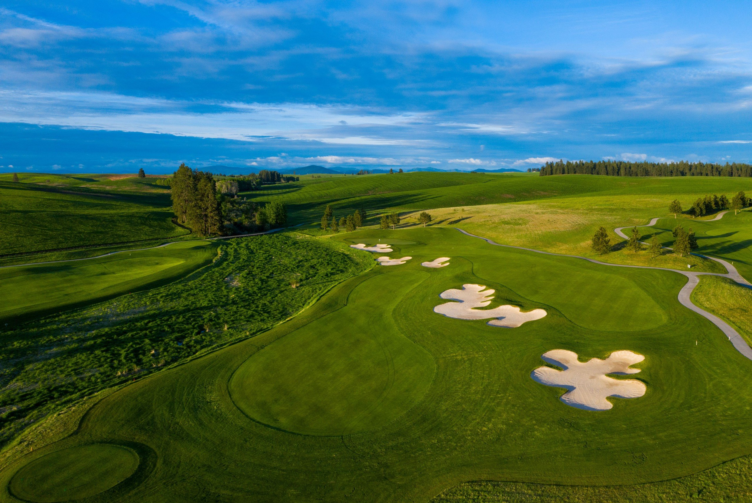 Aerial View Of The 5th Hole Split Fairway At Circling Raven