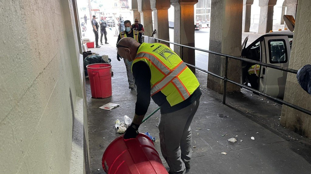 City Of Spokane Employees Picking Up Litter In The Browne Street Viaduct