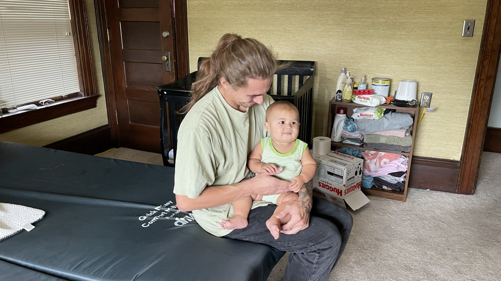 Matthew Gill And His Baby Staying In the new Family Promise Shelter
