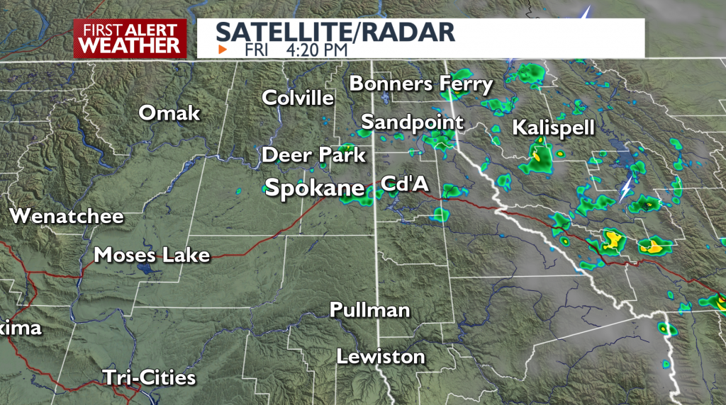 The scattered showers across Northeast Washington & Northern Idaho Panhandle have moved east.