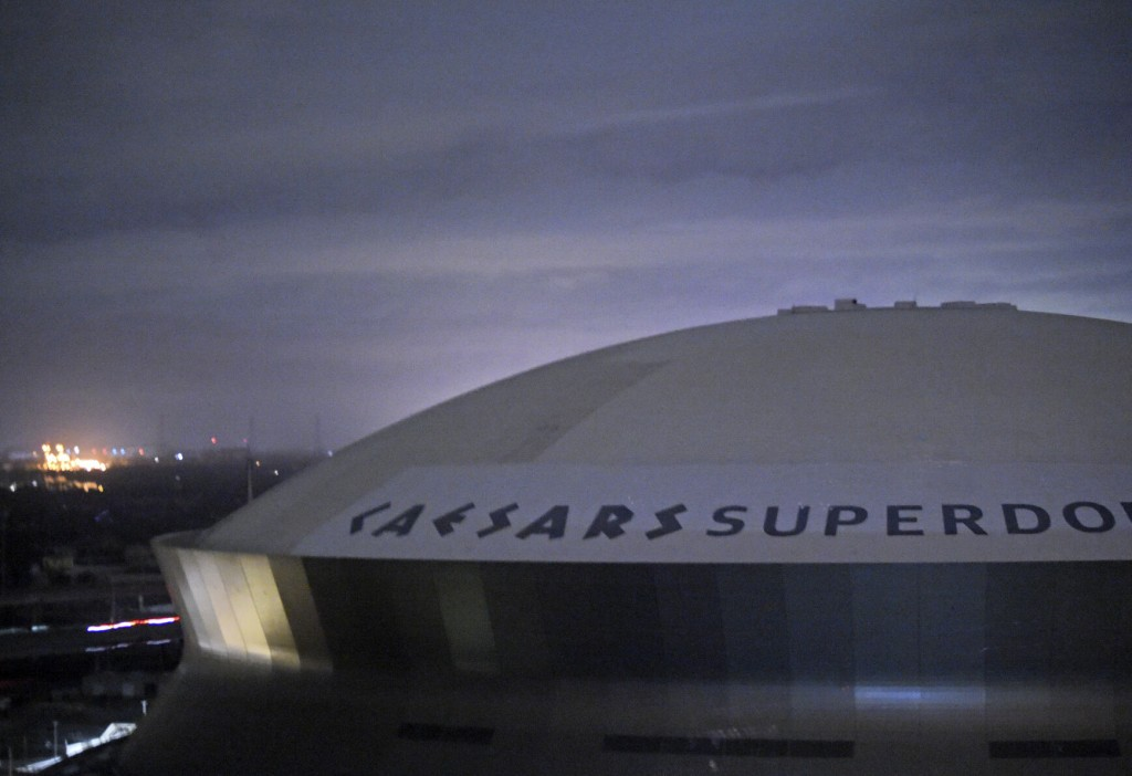 Flames Pour From Section Of Superdome Roof In New Orleans
