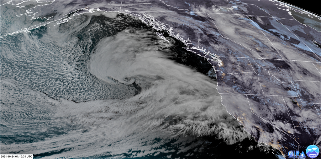 Satellite view of a developing storm off of the U.S. West Coast 10-23-21