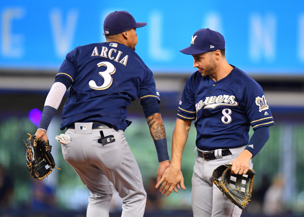 MIAMI, FL – SEPTEMBER 12: Orlando Arcia #3 and Ryan Braun #8 of the Milwaukee Brewers celebrate the win against the Miami Marlins at Marlins Park on September 12, 2019 in Miami, Florida. (Photo by Mark Brown/Getty Images)