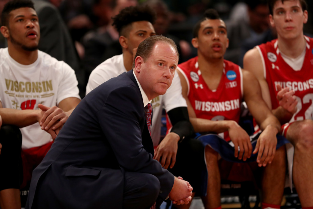NEW YORK, NY – MARCH 24: Head coach Greg Gard of the Wisconsin Badgers looks on against the Florida Gators during the 2017 NCAA Men's Basketball Tournament East Regional at Madison Square Garden on March 24, 2017 in New York City.
