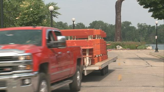 After several days of sun and fun volunteers tear down Riverfest