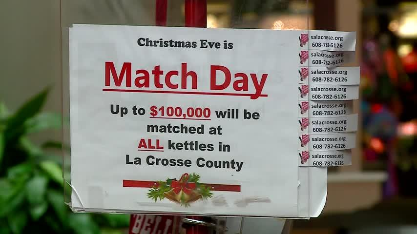 $100,000 match day to help Salvation Army of La Crosse finish bell ringing campaign