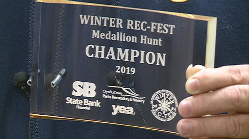 Winter Rec-Fest Medallion winner receives award