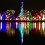 Christmas lights reflected on the water