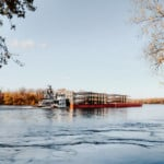 barge hauling windmill blades up the Mississippi River