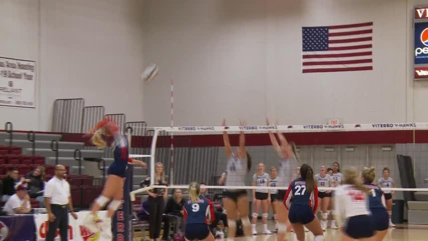Viterbo volleyball begins pool play with 3-0 win