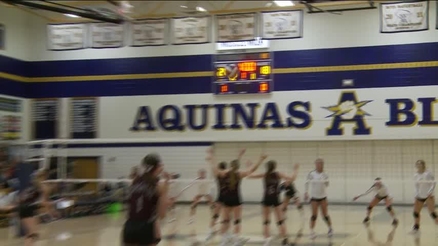 Aquinas volleyball sweeps Cashton in D3 regional final