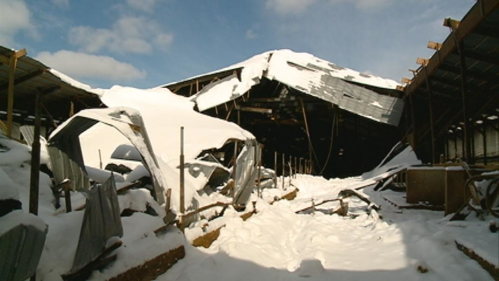 Heavy snow causes local barn roof to collapse