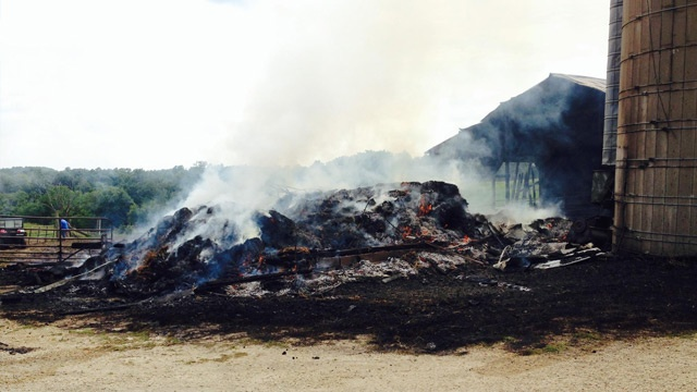 Small barn destroyed by fire in southeast Minn.