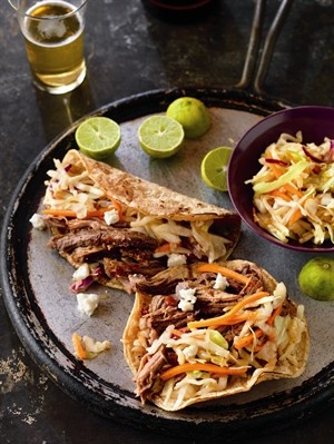 Beer-Braised Spicy Beef Tacos & Slow-Cooked Whiskey-Molasses Shredded Beef