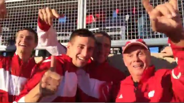 VIDEO:  UW coach Bo Ryan jumps around like the rest of us