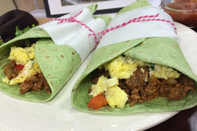 Beef and Egg Breakfast Mugs and Burritos