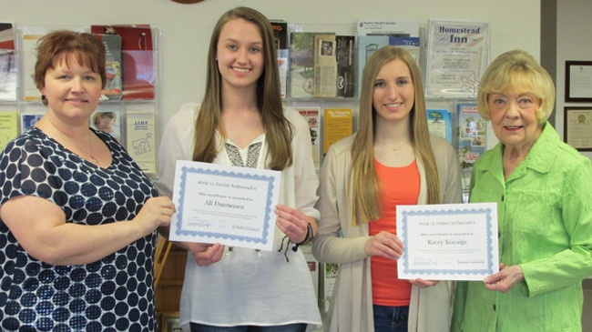 Two area students complete Chamber of Commerce ambassador program