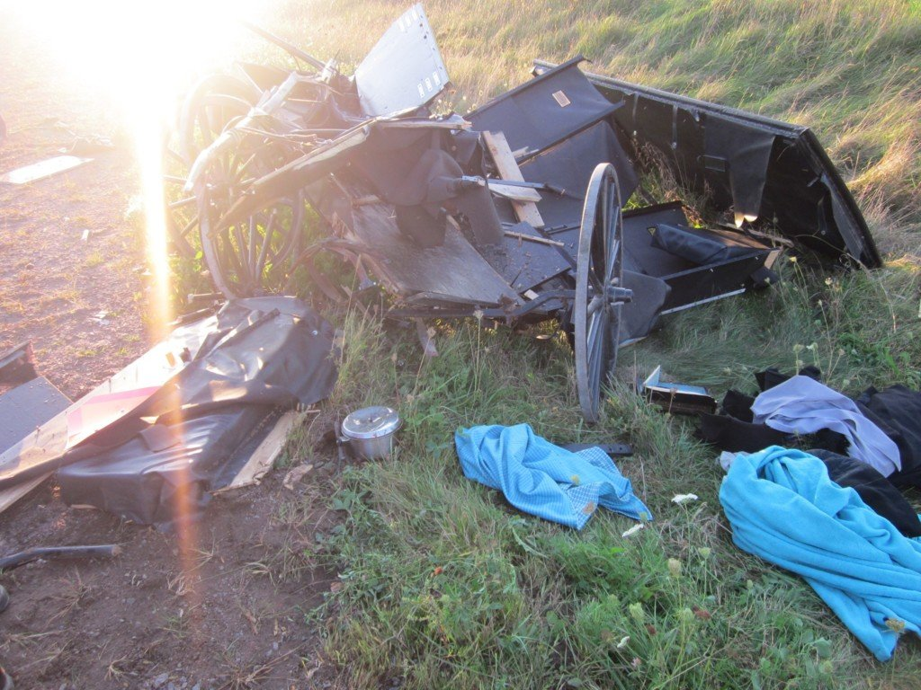 One adult and four small children treated for injuries following car and buggy accident