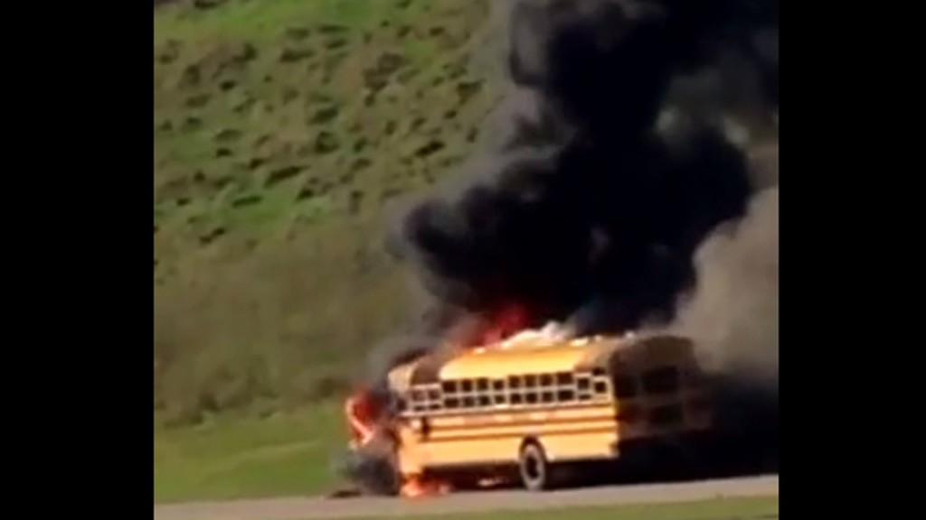 School bus leaving lot catches fire minutes later, official says
