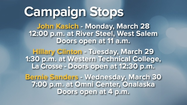 List of presidential campaign stops in the area this week